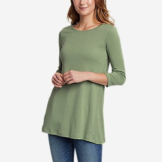 Women's Favorite 3/4-Sleeve Tunic T-Shirt in Green