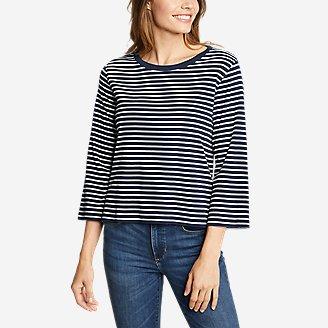 Women's Favorite 3/4-Sleeve Crop Crew - Stripe in Blue