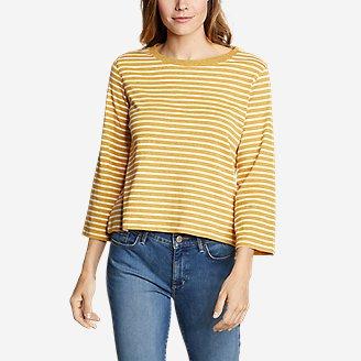 Women's Favorite 3/4-Sleeve Crop Crew - Stripe in Yellow