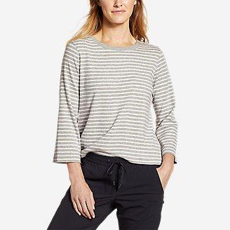 Women's Favorite 3/4-Sleeve Crop Crew - Stripe in Gray