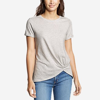 Women's Gate Check Short-Sleeve Twist-Front T-Shirt in Gray
