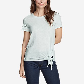 Women's Gate Check Short-Sleeve Side-Tie T-Shirt in Green