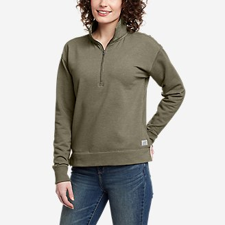 Women's Cozy Camp 1/4-Zip Sweatshirt in Green