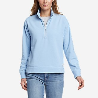 Women's Cozy Camp 1/4-Zip Sweatshirt in Blue