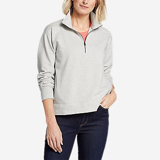 Women's Cozy Camp 1/4-Zip Sweatshirt in Gray