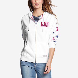 Women's Cozy Camp Full-Zip Hoodie - USA in White