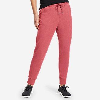 Women's Cozy Camp Fleece Jogger Pants in Red