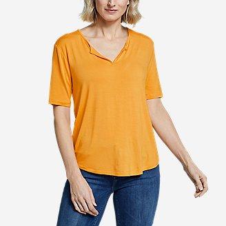 Women's Soft Layer  Notch-Neck T-Shirt in Yellow