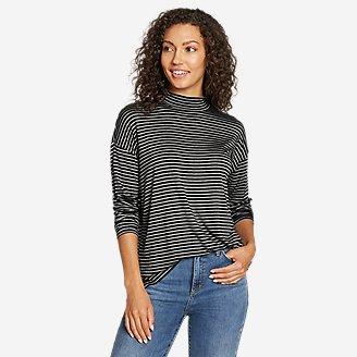 Women's Soft Layer Mock-Neck - Stripe in Black