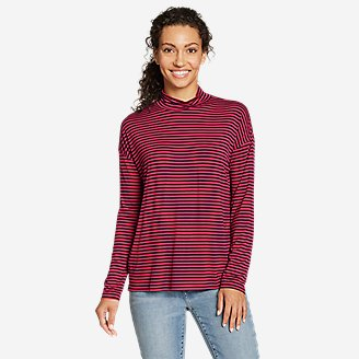 Women's Soft Layer Mock-Neck - Stripe in Red