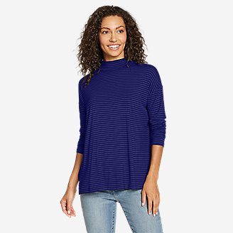 Women's Soft Layer Mock-Neck - Stripe in Blue