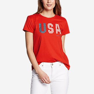 Women's Graphic T-Shirt - USA Flag in Red