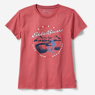 Women's Graphic T-Shirt - Hiker and Dog in Red