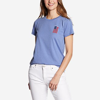 Women's Graphic T-Shirt - Live Your Adventure Flag in Blue