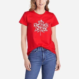 Women's Graphic T-Shirt - Maple Leaf in Red
