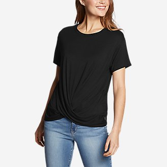 Women's Soft Layer Twist-Front Short-Sleeve Crew T-Shirt - Solid in Black