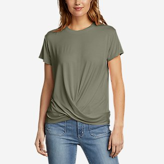 Women's Soft Layer Twist-Front Short-Sleeve Crew T-Shirt - Solid in Green