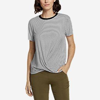 Women's Soft Layer Twist-Front T-Shirt - Stripe in Black