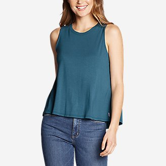 Women's Soft Layer Split-Back Tank Top in Blue
