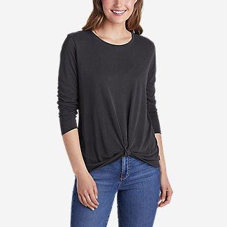 Women's Sandwash Twist-Front Long-Sleeve T-Shirt in Black