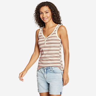 Women's Favorite Henley Tank Top - Stripe in White