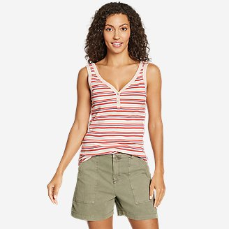 Women's Favorite Henley Tank Top - Stripe in Red