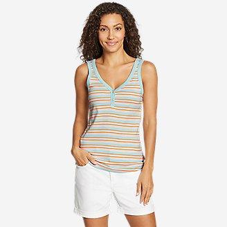 Women's Favorite Henley Tank Top - Stripe in Blue