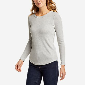 Women's Mixed-Stitch Long-Sleeve Crewneck T-Shirt in Gray