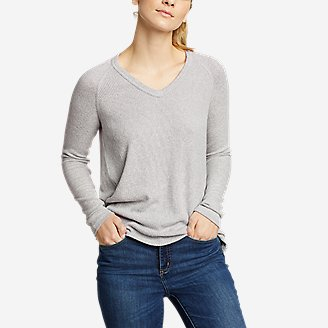 Women's Mixed-Stitch Long-Sleeve V-Neck T-Shirt in Gray