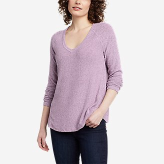 Women's Mixed-Stitch Long-Sleeve V-Neck T-Shirt in Purple