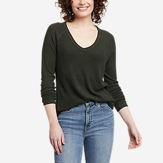 Women's Mixed-Stitch Long-Sleeve V-Neck T-Shirt in Green