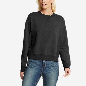 Women's Golden Point Terry Crew Sweatshirt in Black