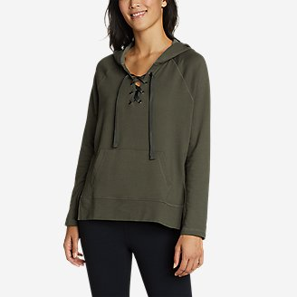 Women's Everyday Enliven Pullover Lace-Up Hoodie in Green