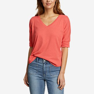 Women's Favorite Short-Sleeve V-Neck Easy T-Shirt in Orange