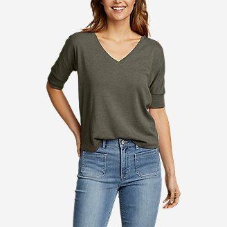 Women's Favorite Short-Sleeve V-Neck Easy T-Shirt in Green