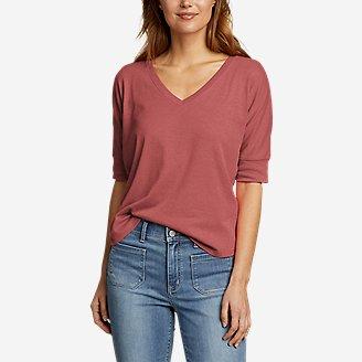 Women's Favorite Short-Sleeve V-Neck Easy T-Shirt in Red