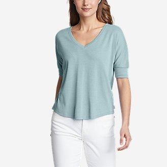 Women's Favorite Short-Sleeve V-Neck Easy T-Shirt in Blue