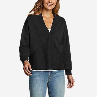 Women's Golden Point Terry V-Neck in Black