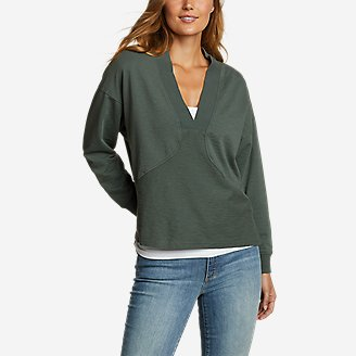 Women's Golden Point Terry V-Neck in Green
