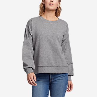 Women's Cozy Camp Puff-Sleeve Sweatshirt in Gray