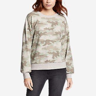 Women's Cozy Camp Puff-Sleeve Sweatshirt in Green