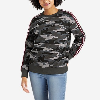 Women's Cozy Camp Crew - Print with Taping in Black
