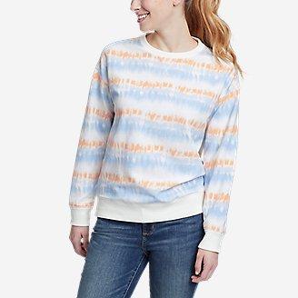 Women's Cozy Camp Crewneck Sweatshirt - Print in Blue
