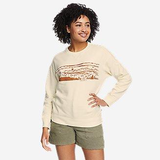Women's Cozy Camp Crewneck Sweatshirt - Print in White
