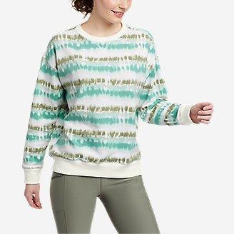 Women's Cozy Camp Crewneck Sweatshirt - Print in Green