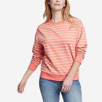 Women's Cozy Camp Crewneck Sweatshirt - Print in Orange