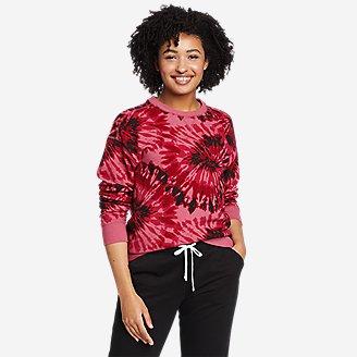 Women's Cozy Camp Crewneck Sweatshirt - Print in Red