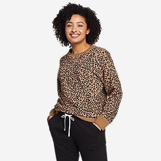 Women's Cozy Camp Crewneck Sweatshirt - Print in Beige