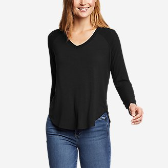 Women's Soft Layer Long-Sleeve Mixed-Rib V-Neck T-Shirt in Black