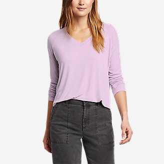 Women's Soft Layer Long-Sleeve Mixed-Rib V-Neck T-Shirt in Purple
